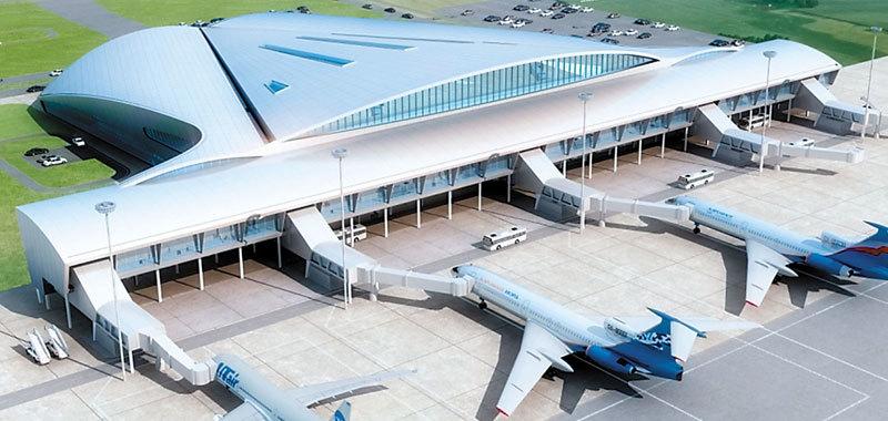 Крыша аэропорта «Курумоч» в Самаре покрыта мембраной с А-профилем, которая имитирует металлическую кровлю