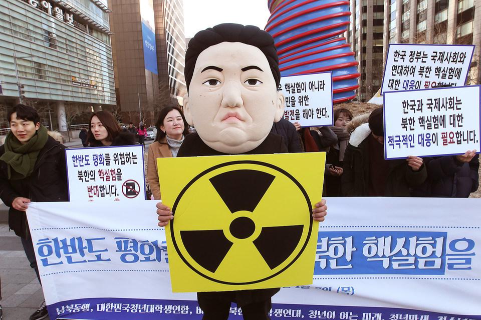 Митинг протеста в Сеуле против ядерных испытаний в КНДР. 7 января