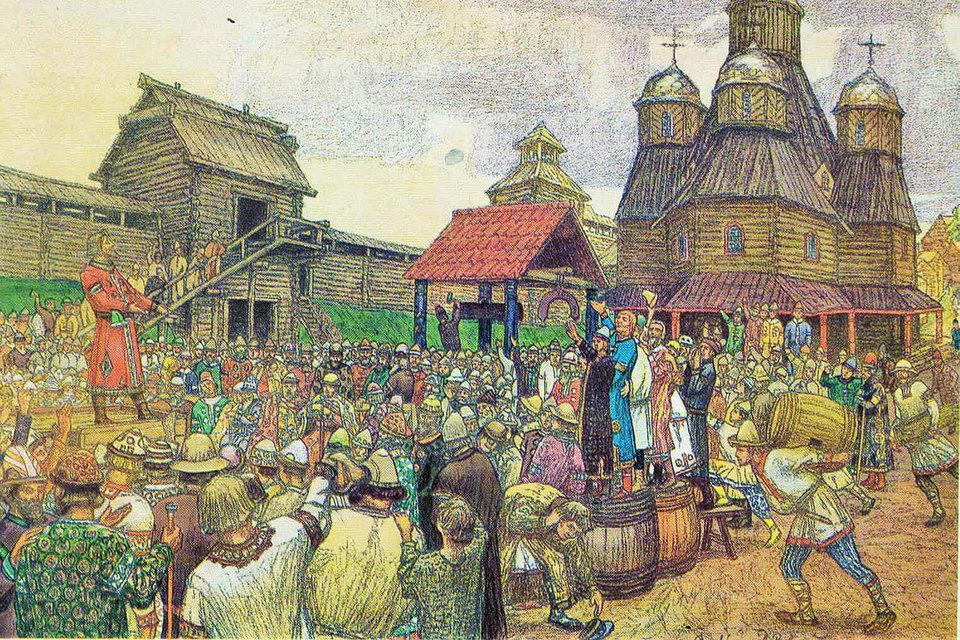 «Псковское вече».  А. Васнецов, 1909