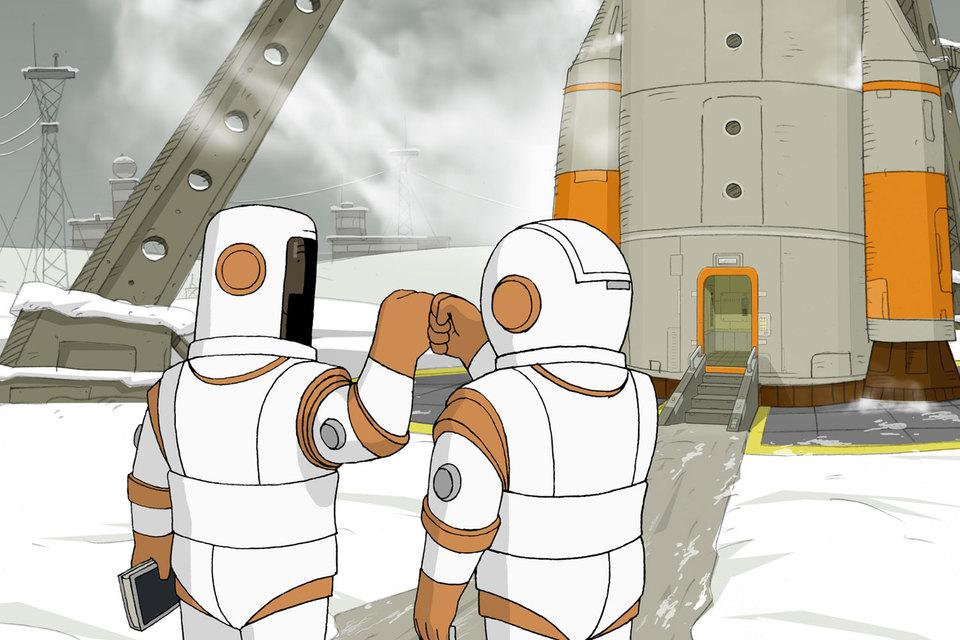 Мультфильм рассказывает о двух друзьях, которые мечтают о том, чтобы попасть в космос, и том, что они предпринимают для осуществления мечты