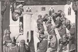 Средневековый европейский университет. Миниатюра XIV в.