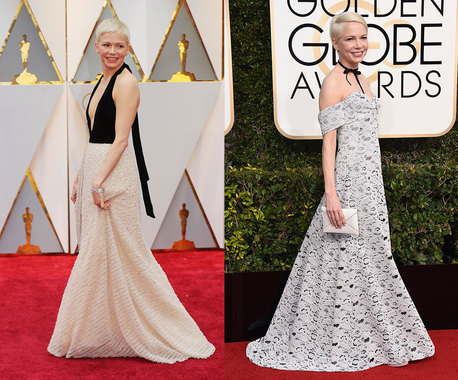 Мишель Уилльямс, номинированная за роль в драме «Манчестер у моря», уже несколько лет является лицом Louis Vuitton и для обеих церемоний выбрала платья и украшения этой марки