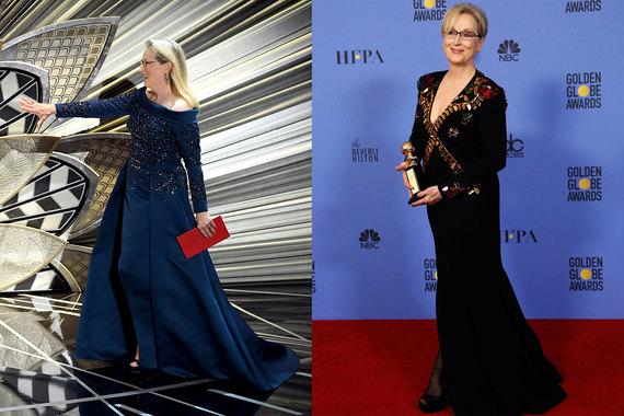 На «Золотой глобус» Мерил Стрип пришла в Givenchy Haute Couture by Riccardo Tisci, а для «Оскара» выбрала платье Elie Saab Haute Couture, которое к церемонии шили специально для актрисы: на показе эта же модель была представлена в другом цвете