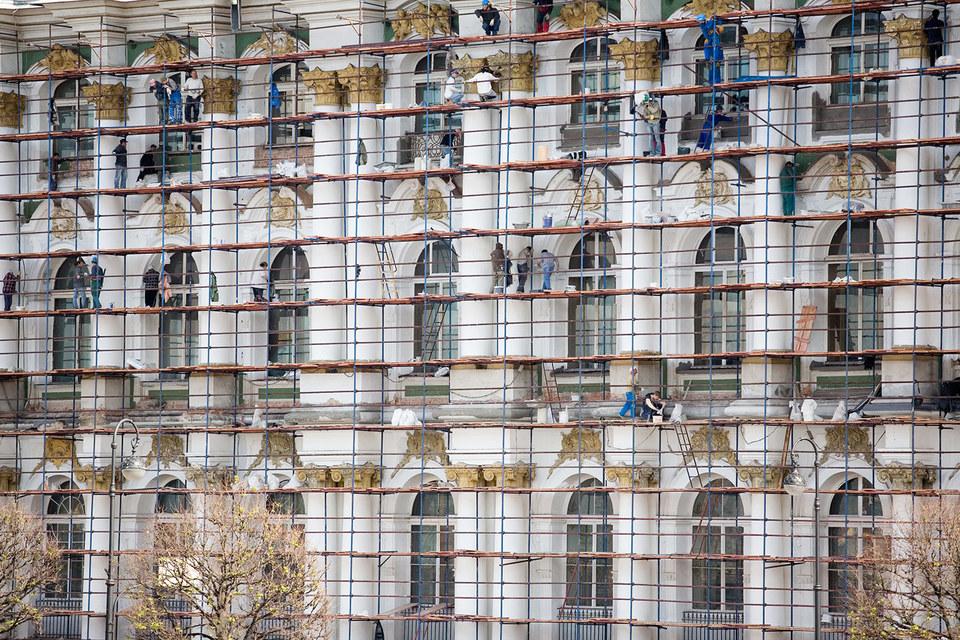 Реставрация Эрмитажа, архивный кадр