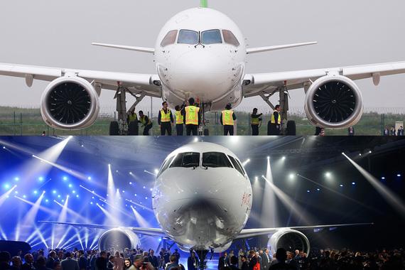 Китайский самолет является прямым конкурентом российского МС-21 (на фото снизу). Основными преимуществами российского самолета считается углепластиковое крыло (китайцы отказались от него ради темпа разработки) и увеличенный диаметр фюзеляжа
