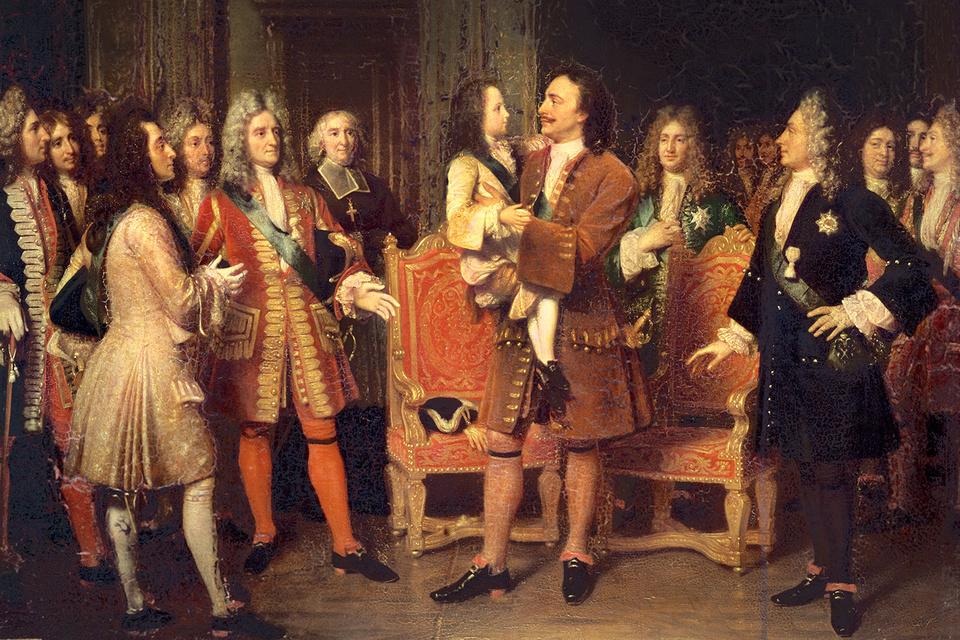 Картина Луизы Марии Жанны Эрсен  «Луи XV посещает Петра I в Lesdiguieres», XIX в.