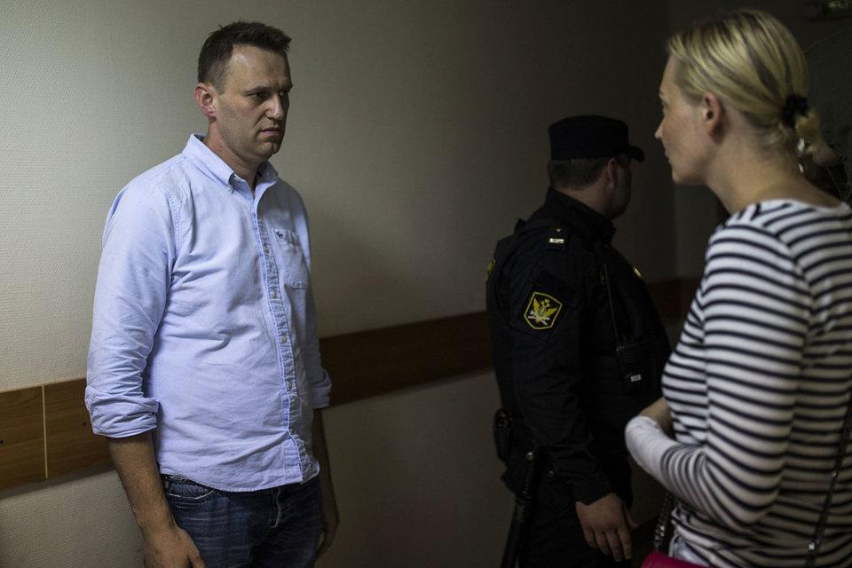 Алексей Навальный был задержан в подъезде своего дома за полчаса до несанкционированной акции протеста на Тверской улице