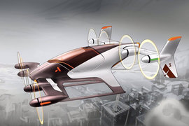 У Vahana, беспилотного прототипа от Airbus, пропеллеры могут располагаться вертикально (для полета), а могут - горизонтально, для взлета и посадки (см. ниже)