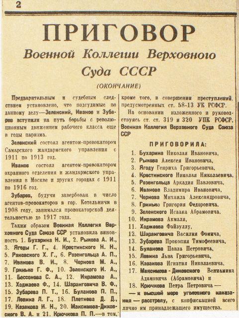 Приговор по делу Бухарина - Рыкова - Ягоды, март 1938 г.