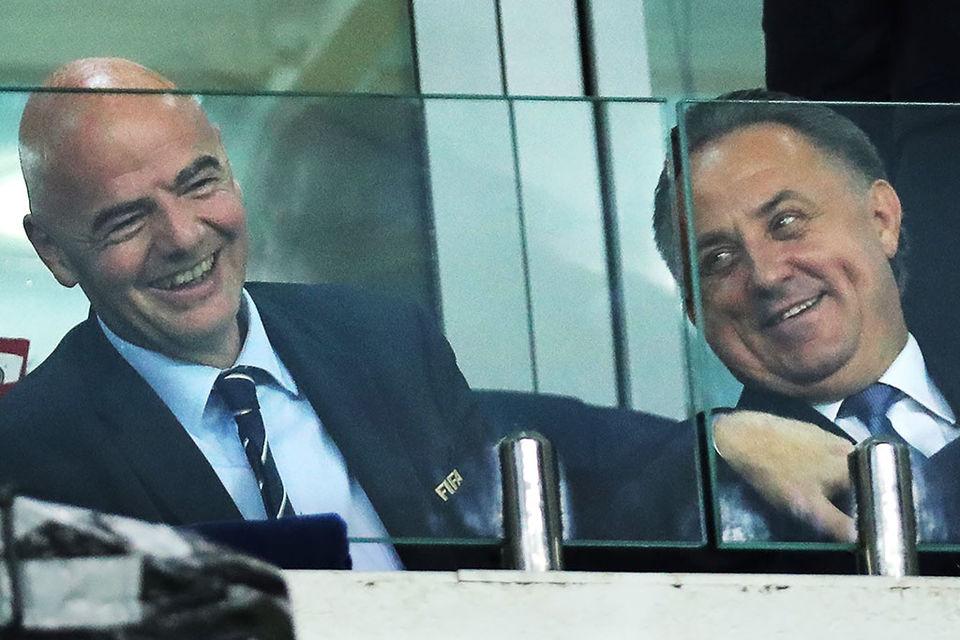 Президент FIFA Джанни Инфантино и президент РФС Виталий Мутко