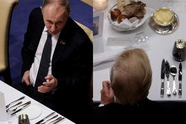 Владимир Путин (слева) и Дональд Трамп на двух фотографиях, сделанных во время ужина G20