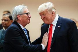 Председатель Еврокомиссии Жан-Клод Юнкер и президент США Дональд Трамп