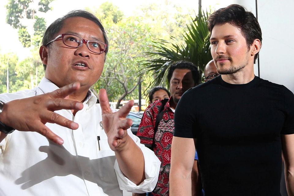 Министр коммуникаций и информационных технологий Индонезии Рудиантара и основатель Telegram Павел Дуров