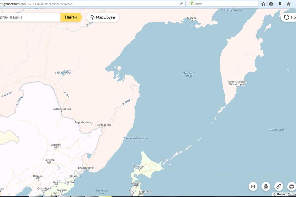 Сахалин «исчез» с «Яндекс.Карт»