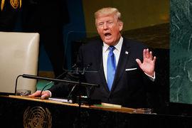 Президент США Дональд Трамп выступает на генеральной ассамблее ООН