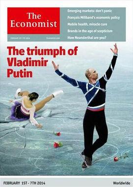 The Economist, февраль 2014 г. Статья «Триумф Владимира Путина» посвящена победе России на Олимпийских играх в Сочи