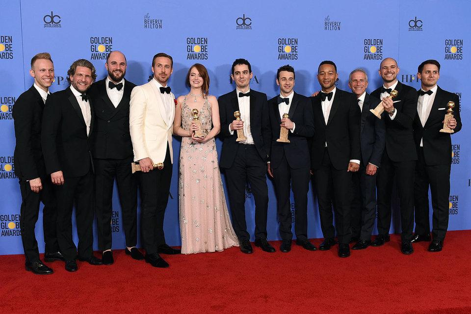 Команда мюзикла «Ла-ла ленд» с наградами