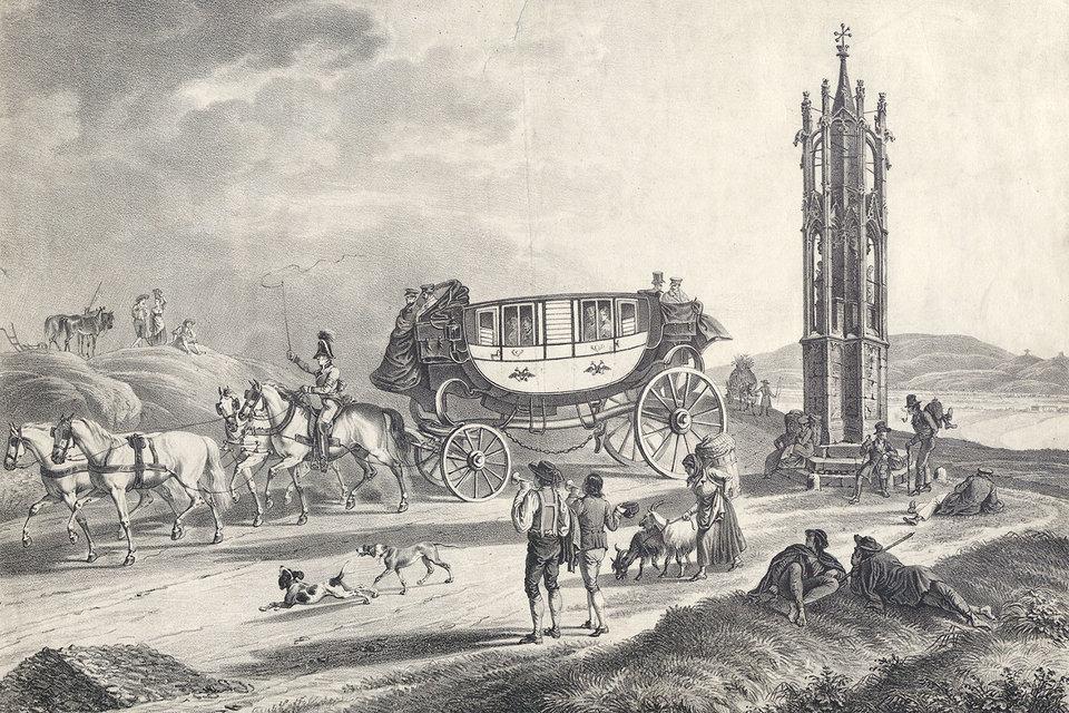 Литография с выставки, иллюстрирующая, как мог бы путешествовать великий композитор