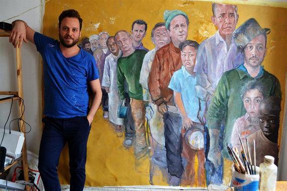 Абдалла аль-Омари родился в Дамаске, сейчас живет в Бельгии. Он решил нарисовать  мировых лидеров в образе беженцев, так как убежден, что каждый человек и каждая страны уязвимы