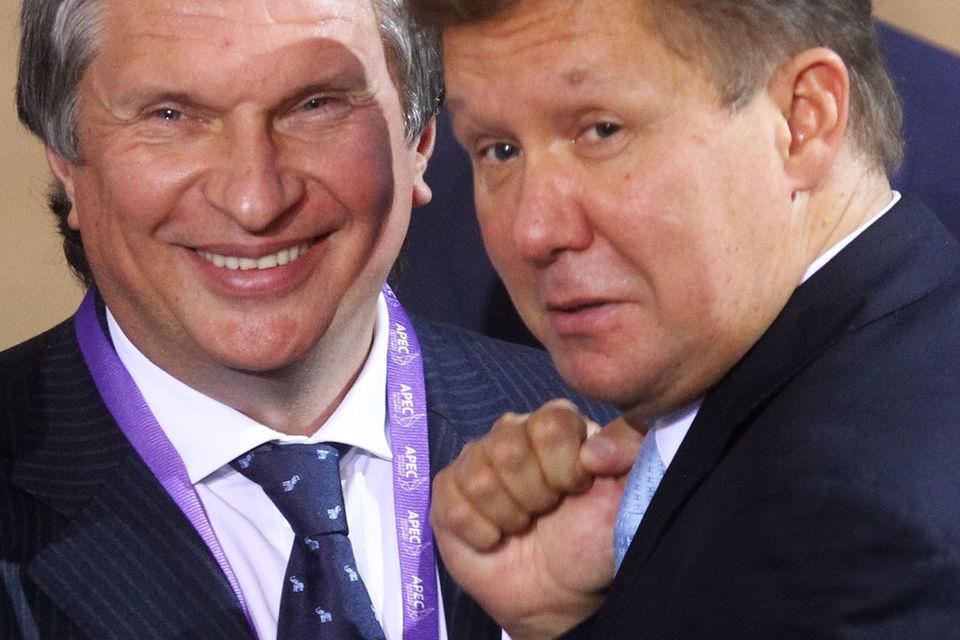 Главный исполнительный директор «Роснефти» Игорь Сечин и председатель правления «Газпрома» Алексей Миллер