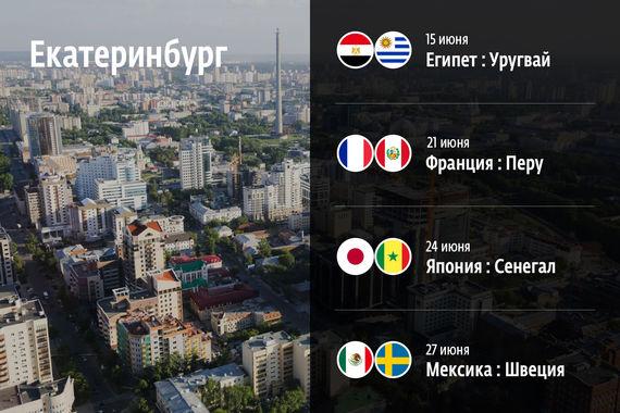 На «Екатеринбург арене» пройдут матчи Египет – Уругвай (15 июня), Франция – Перу (21 июня), Япония – Сенегал (24 июня), Мексика – Швеция (27 июня)