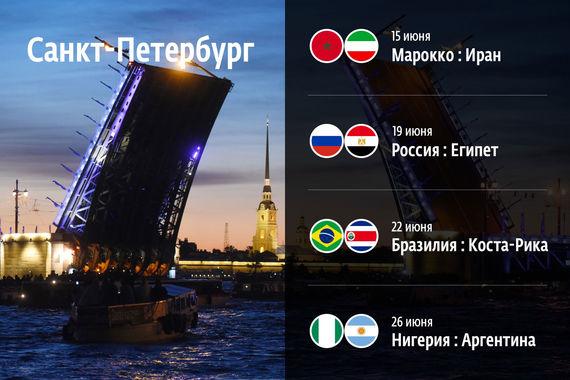 На стадионе «Санкт-Петербург» пройдут матчи Марокко – Иран (15 июня), Россия – Египет (19 июня), Бразилия – Коста-Рика (22 июня), Нигерия – Аргентина (26 июня)
