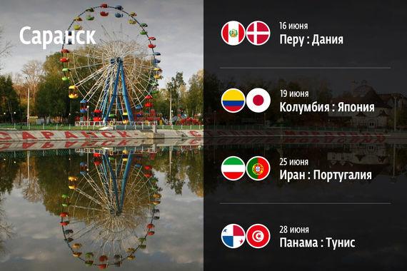 В Саранске на стадионе «Мордовия арена» сыграют сборные Перу и Дании (16 июня), Колумбии и Японии (19 июня), Ирана и Португалии (25 июня), Панамы и Туниса (28 июня)