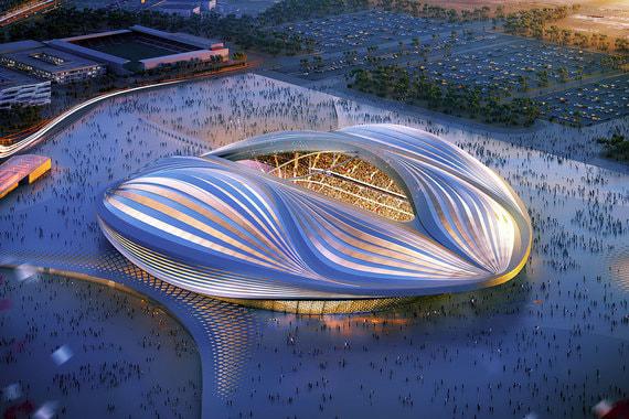 Дизайн стадиона вдохновлен раздутым парусом
