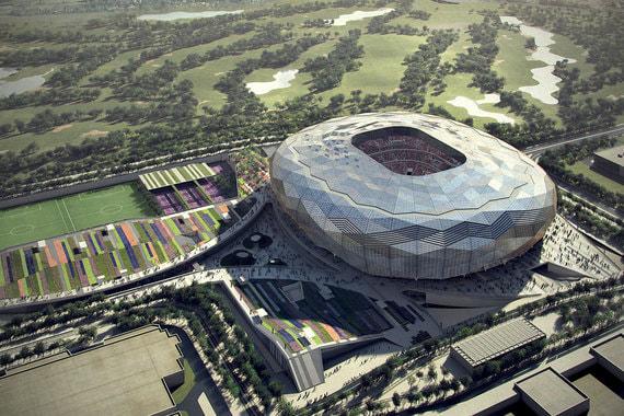 В дизайне стадиона смешались традиции исламской архитектуры и современность. Алмазоподобные узоры фасада должны менять цвет по мере того, как солнце движется по небу