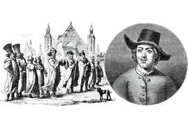 Великое посольство, гравюра современника. Портрет Петра I в одежде голландского матроса