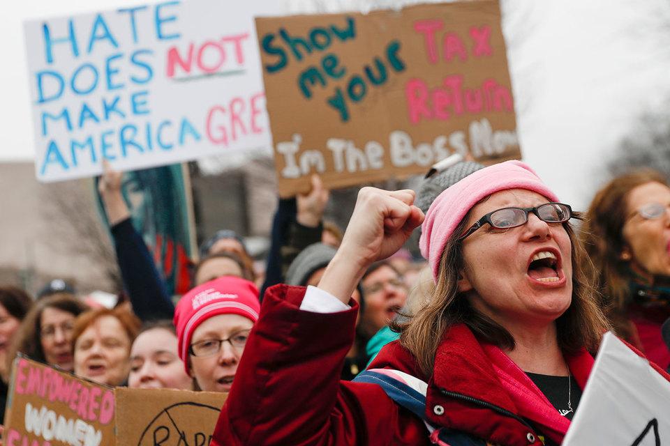 Демонстрации прошли во многих американских городах на следующий день после церемонии инаугурации 45-го президента США