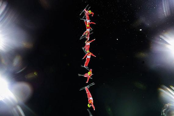 19 февраля 2018 г. Олимпийский спортсмен из России Илья Буров во время выступления в                      дисциплине «лыжная акробатика» на соревнованиях по фристайлу среди мужчин                      на XXIII зимних Олимпийских играх