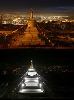 Карсноярск традиционно присоединился к акции. На фотографии Ступа Просвещения в буддийском центре до и после отключения света