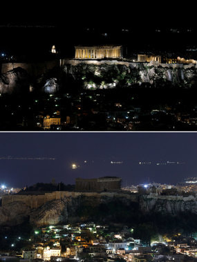 Храм Парфенона на вершине Акрополя до и во время Часа Земли в Афинах