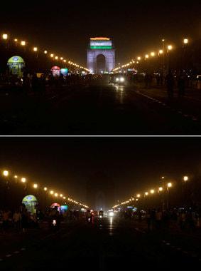 Военный мемориал Ворота Индии в Нью-Дели до и после того, как огни были отключены