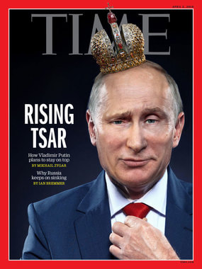 """В апреле 2018 г. выйдет журнал Time, на обложке которого Путинизображен в деловом костюме с короной на голове. Судя по обложке, в номере выйдет статья Михаила Зыгаря под заголовком «Восходящий царь.Как Владимир Путин планирует оставаться на высоте"""""""