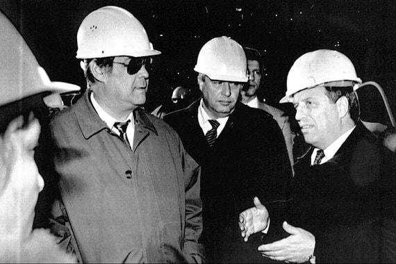 В июле 1997 г. Тулеев назначен главой администрации Кемеровской области. На фото: Аман Тулеев и спикер Госдумы Геннадий Селезнев в сентябре 1997 г.