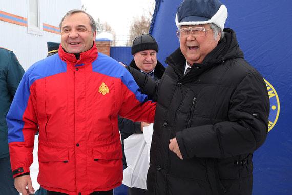 Октябрь 2016 г. Руководитель МЧС Владимир Пучков и Аман Тулеев