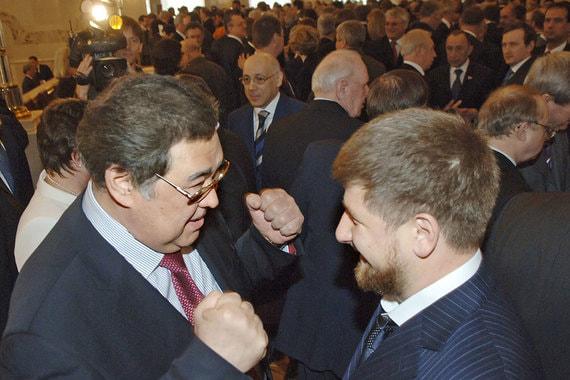 Апрель 2007 г. Аман Тулеев и глава Чечни Рамзан Кадыров перед началом послания президента к Федеральному собранию
