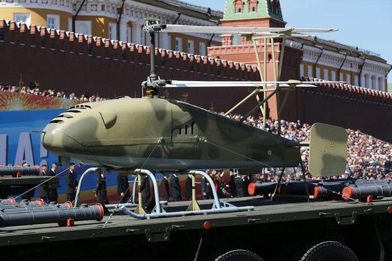 Впервые на платформах провезли беспилотные летательные аппараты «Катран» вертолетного типа