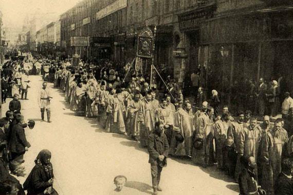Никольская улица, 1903 г. Крестный ход