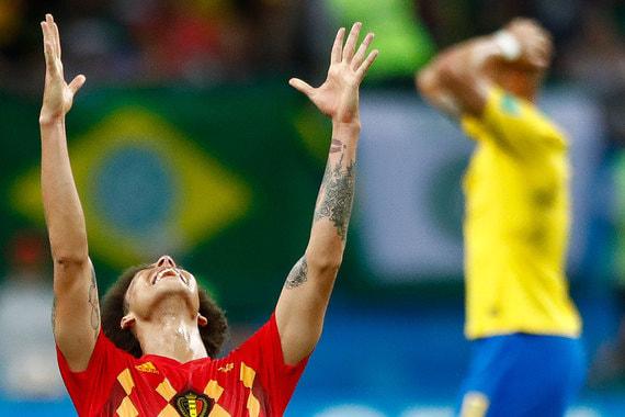 Игрок сборной Бельгии Аксель Витсель радуется выходу команды в полуфинал чемпионата мира. Бельгийцы в ярком матче переиграли бразильцев – 2:1