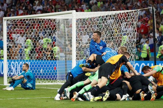 Радость хорватской сборной. Хорватия впервые с 1998 г. в полуфинале чемпионата мира