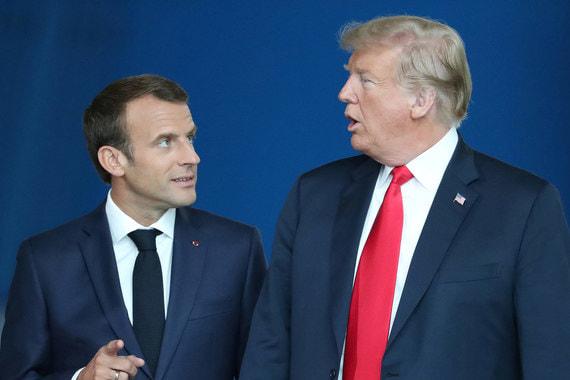 Макрон на встрече с Трампом заступился за Германию. Президент Франции подчеркнул, что не согласен с заявлением о зависимости Германии от России. На фото: президент США Дональд Трамп и президент Франции Эмманюэль Макрон