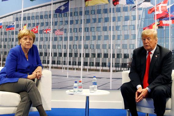 Через несколько часов после своего выступления Трамп встретился с Ангелой Меркель. Переговоры, по его словам, прошли «отлично»
