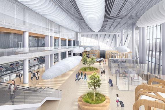 Пространство залов внутри терминала будет просторным и светом с островками зелени, а также конструкциями, напоминающих облака или дирижабли
