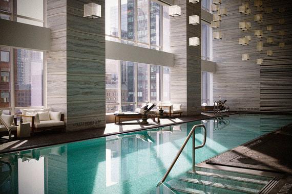 Бассейн с панорамными окнами