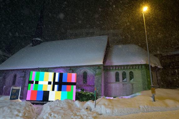 В центре Давоса установлены большие медиаэкраны, на которые будут транслироваться мероприятия форума