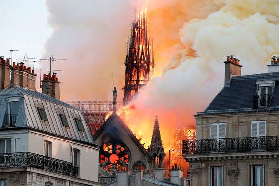 Пожар в Соборе Парижской Богоматери. Съемки очевидцев