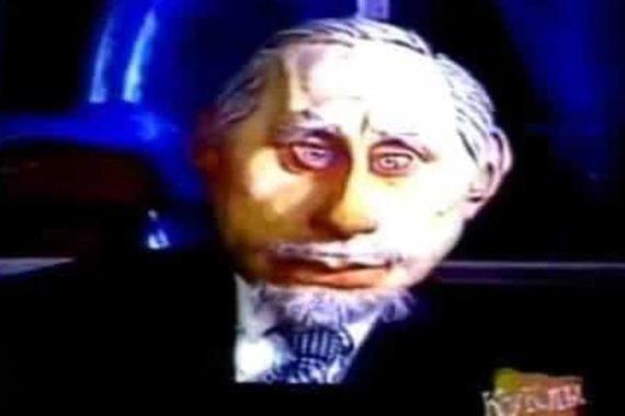 Кадр из телепередачи «Куклы» о событиях «двадцать лет спустя» – 19 декабря 2019 г. (19 декабря 1999 г. – выборы в Госдуму III созыва)